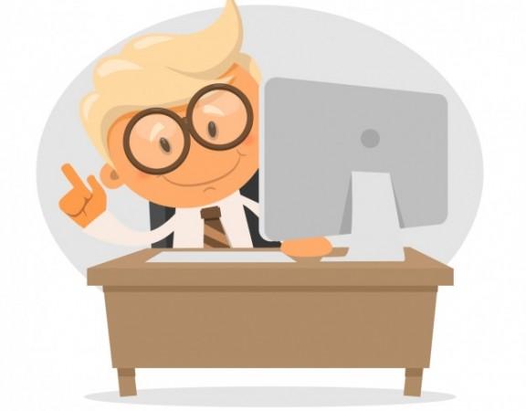وکتور کاراکتر مرد موفق با کامپیوتر